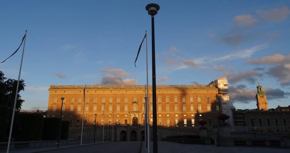 Das königliche Schloss in Stockholm Sonnenuntergang